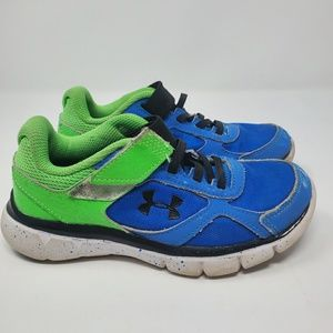 Boys Under Armour Blue & Green shows size 13